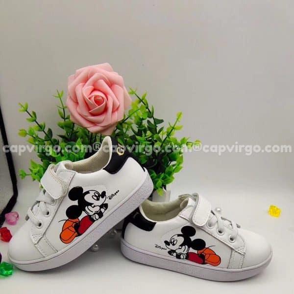 Giày Gucci Chuột Mickey trẻ em màu trắng gót đen