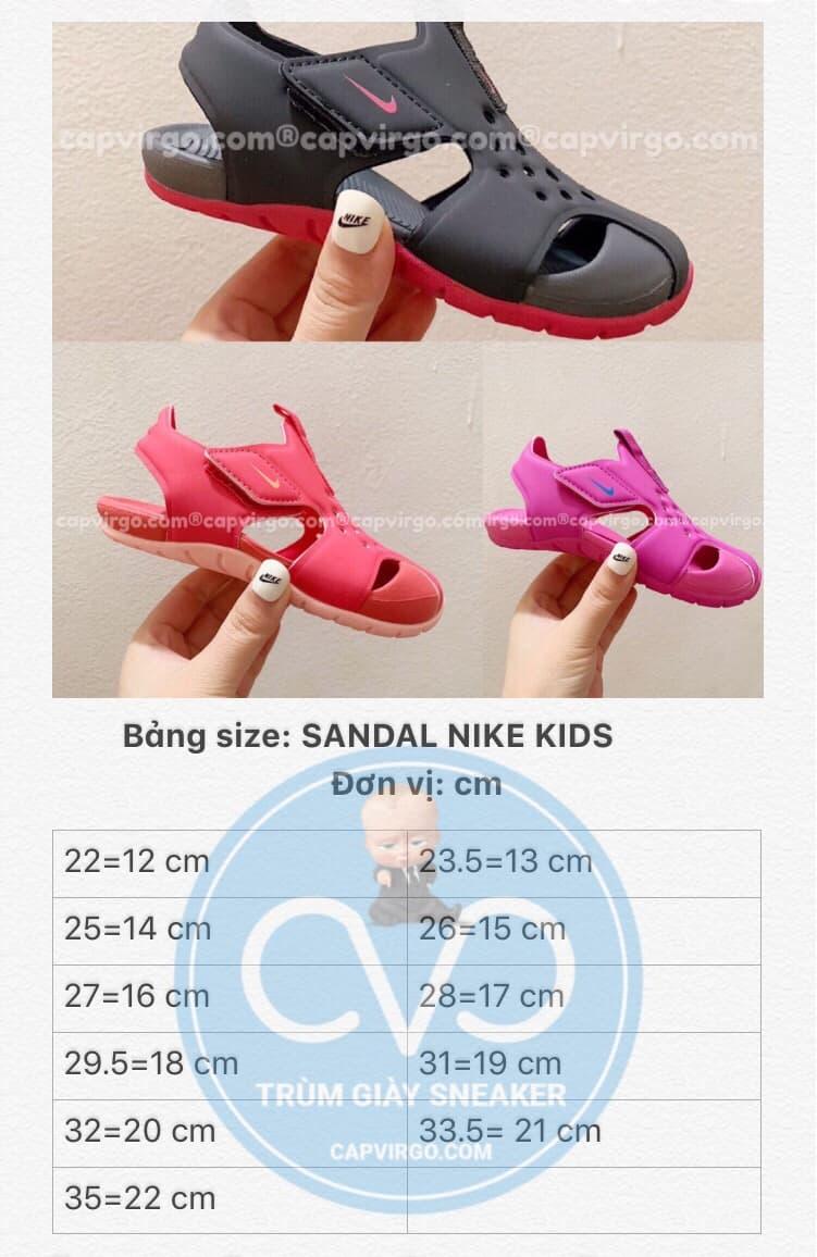 Bảng size sandal Nike Sunray trẻ em