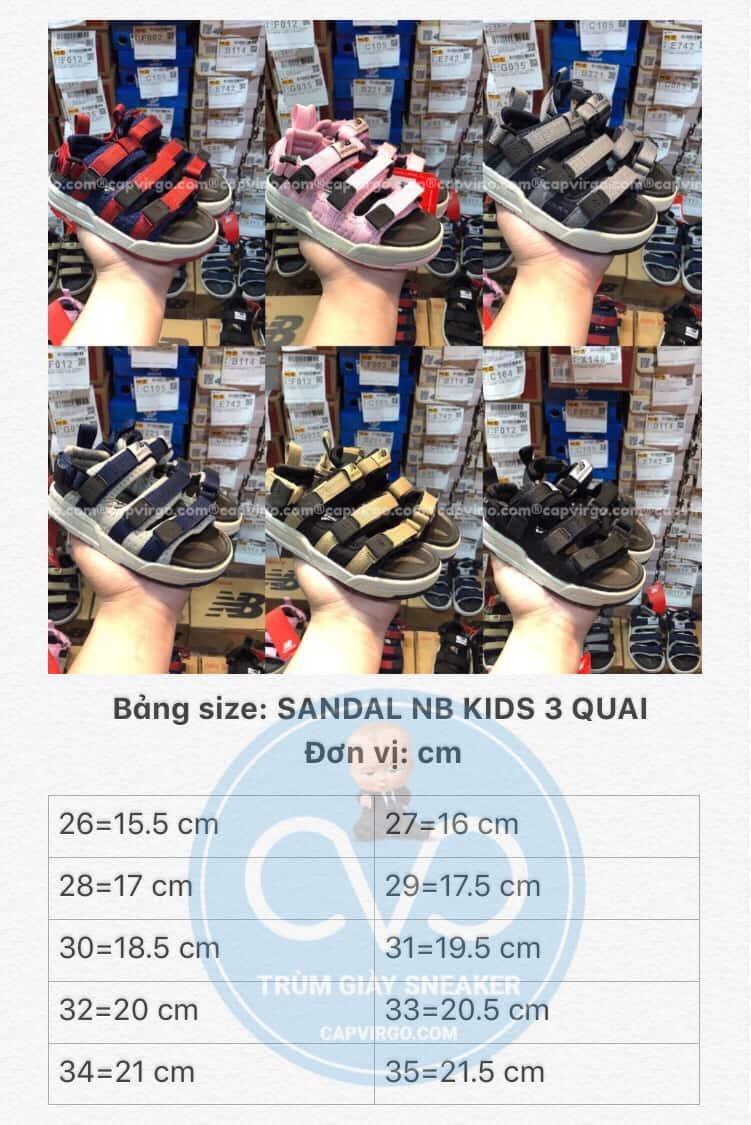 Bảng size Sandal NB trẻ em 3 quai