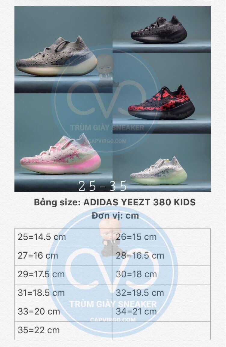 Bảng size giày Adidas Yeezy 380 trẻ em