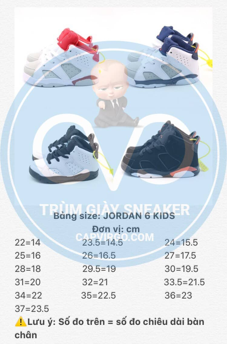 Bảng size giày trẻ em Air Jordan 6 Retro