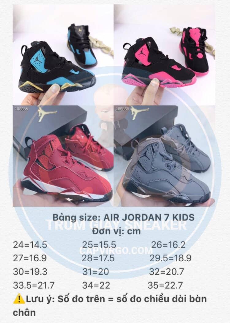 Bảng size giày trẻ em Air Jordan 7 Retro