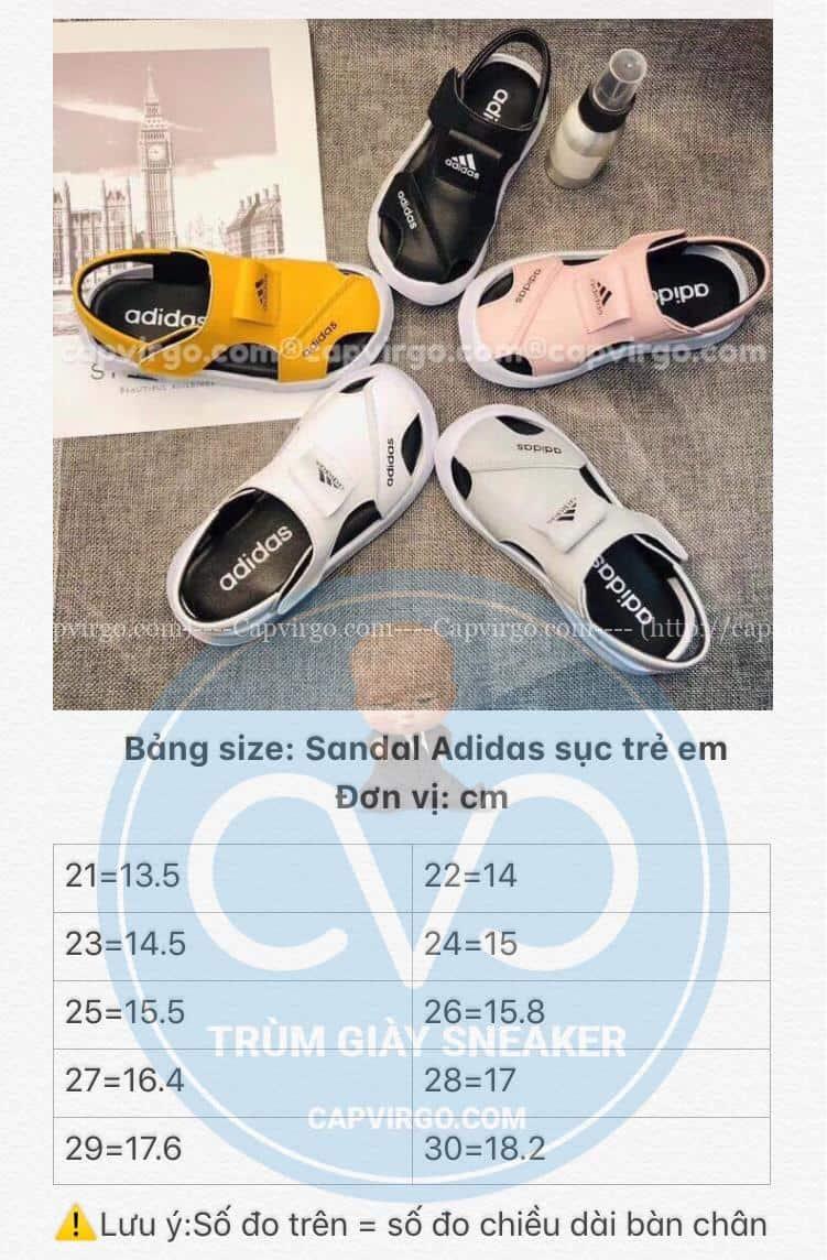 Bảng size sandal adidas trẻ em