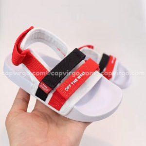 Sandal Vans trẻ em 2 dây màu đen đỏ