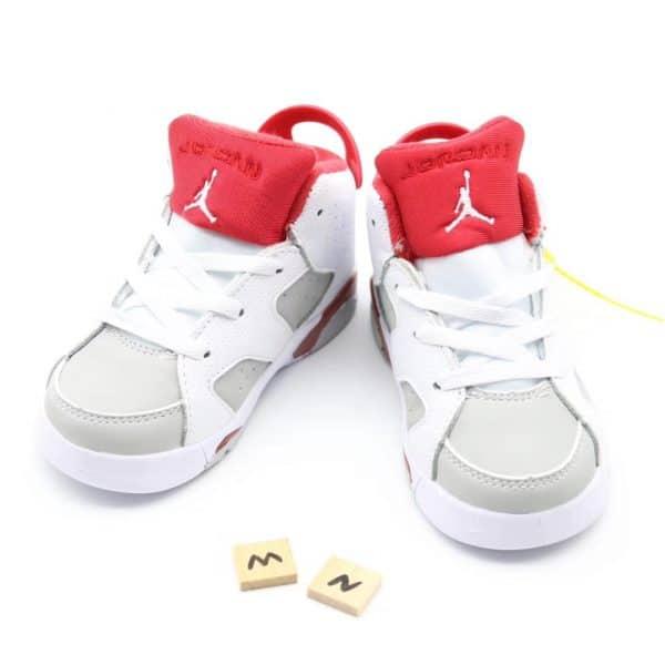 Giày trẻ em Air Jordan 6 Retro màu trắng đỏ