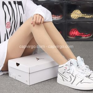 Giày Nike Jordan 1 màu trắng viền đen siêu cấp