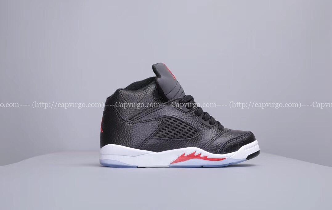 Giày trẻ em Air Jordan 5 Retro màu đen đỏ