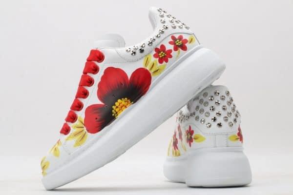 Giày McQueen nữ siêu cấp họa tiết hoa gót đinh