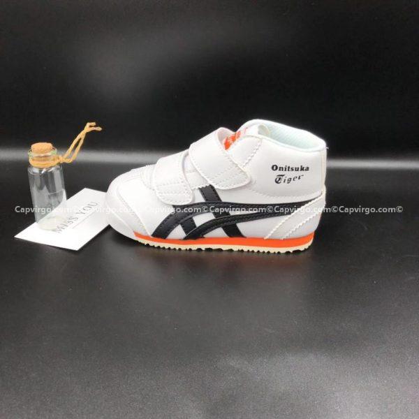 Giày trẻ em Onitsuka Tiger cao cổ trắng sọc đen