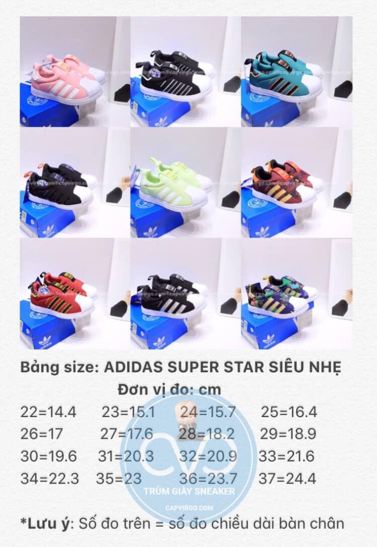 Bảng size giày Superstar trẻ em siêu nhẹ