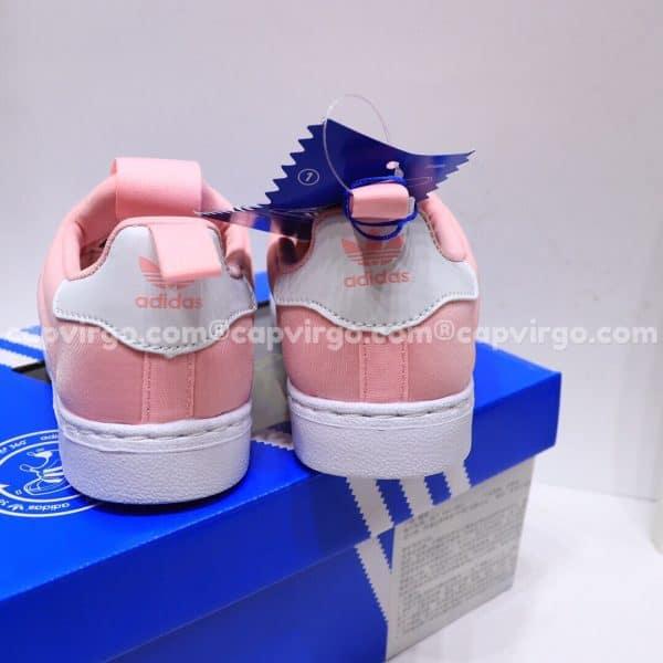Giày Superstar trẻ em siêu nhẹ màu hồng trắng