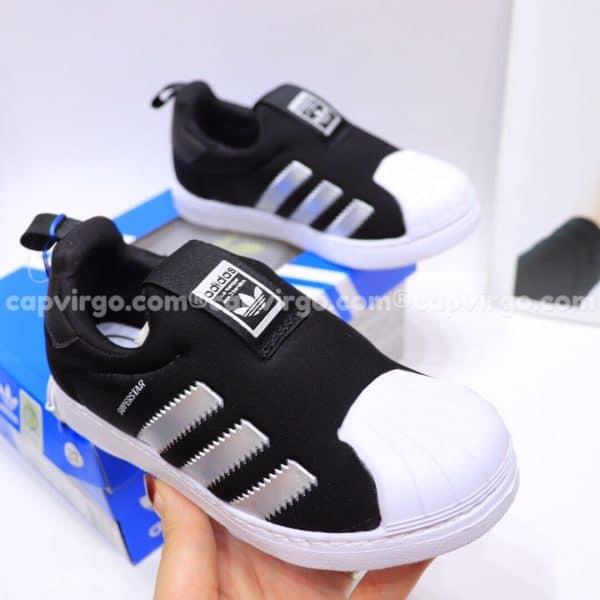 Giày Superstar trẻ em siêu nhẹ màu đen bạc