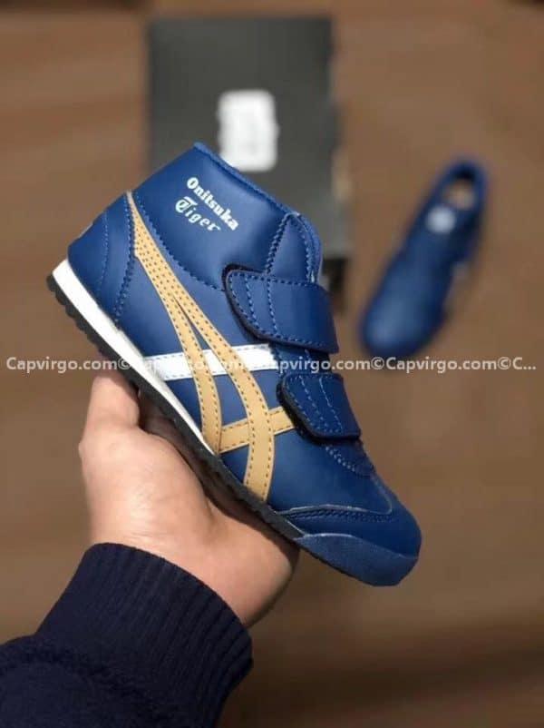 Giày trẻ em Onitsuka Tiger cao cổ màu xanh dương