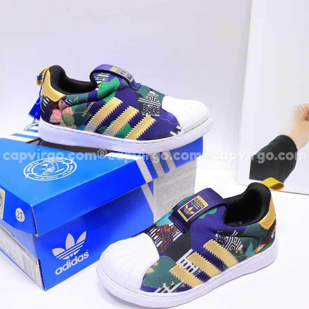 Giày Superstar trẻ em siêu nhẹ màu xanh dương