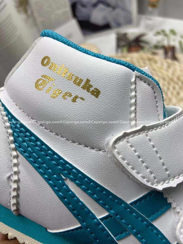 Giày trẻ em Onitsuka Tiger cao cổ trắng sọc xanh
