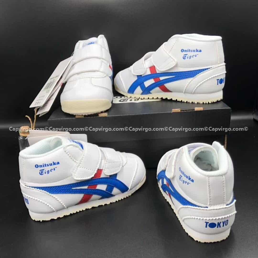 Giày trẻ em Onitsuka Tiger cao cổ trắng sọc xanh đỏ