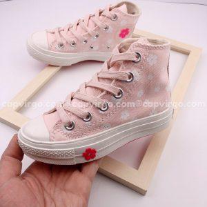 Giày Converse trẻ em hoa cao cổ màu hồng