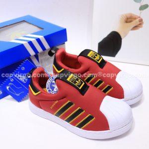 Giày Superstar trẻ em siêu nhẹ màu đỏ đen