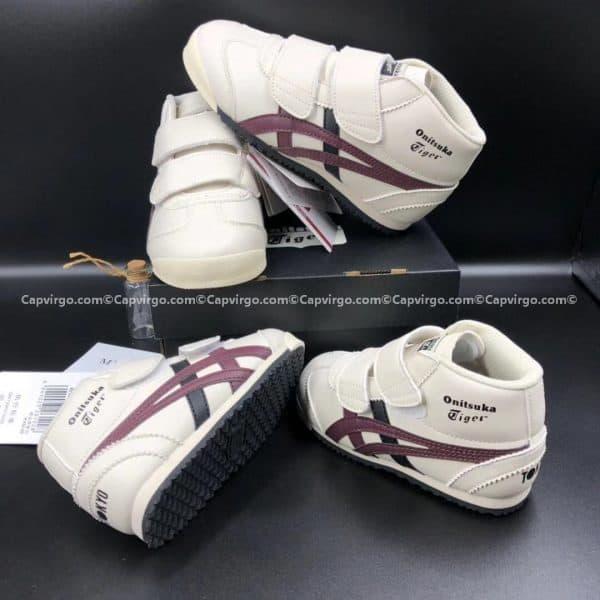 Giày trẻ em Onitsuka Tiger cao cổ trắng sọc nâu