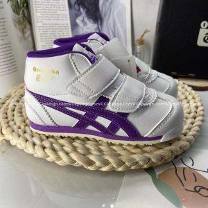 Giày trẻ em Onitsuka Tiger cao cổ trắng sọc tím