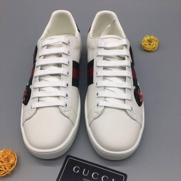 Giày gucci ACE màu trắng siêu cấp họa tiết mũi tên đính đá