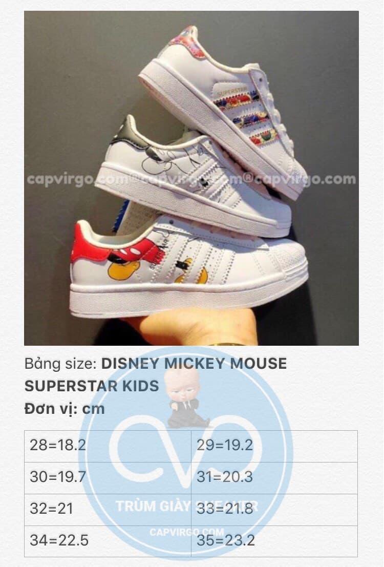 Bảng size Giày Superstar DISNEY chuột Mickey trẻ em
