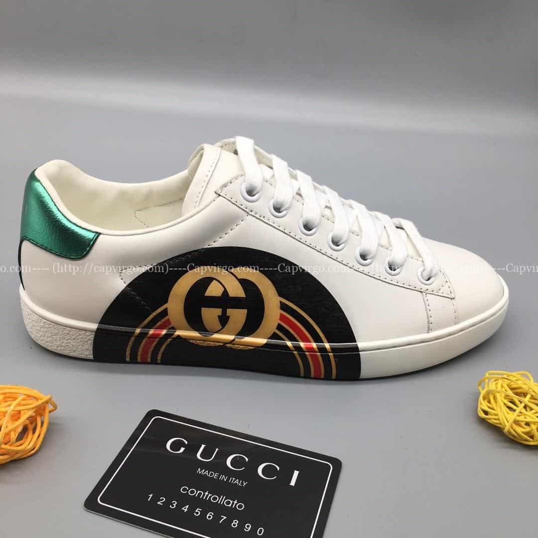 Giày gucci ACE Vip siêu cấp màu trắng gót 2 màu