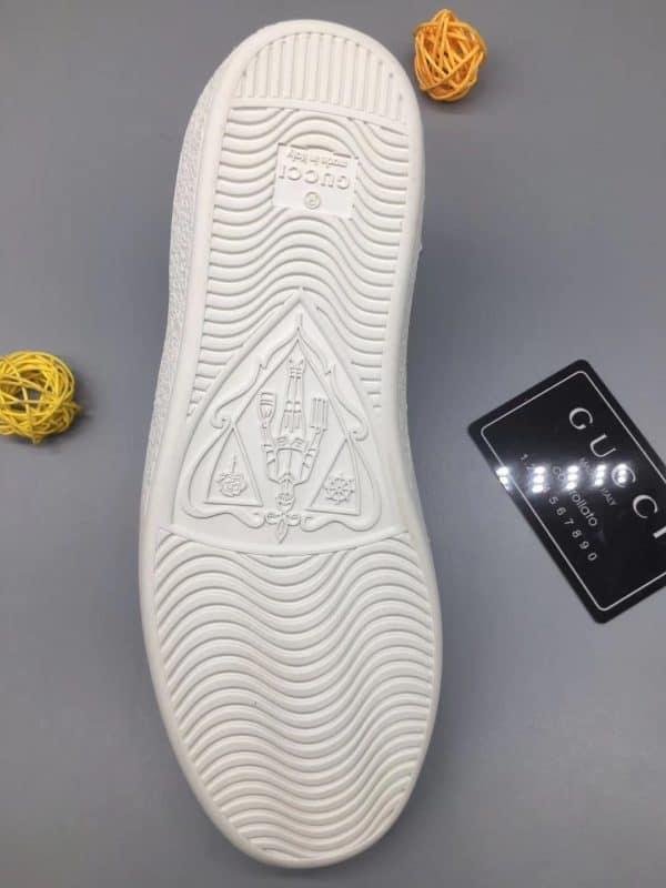 Giày gucci ACE siêu cấp trắng gót xanh hoạt tiết cây vợt