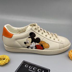 Giày gucci mickey màu trắng sữa gót cam