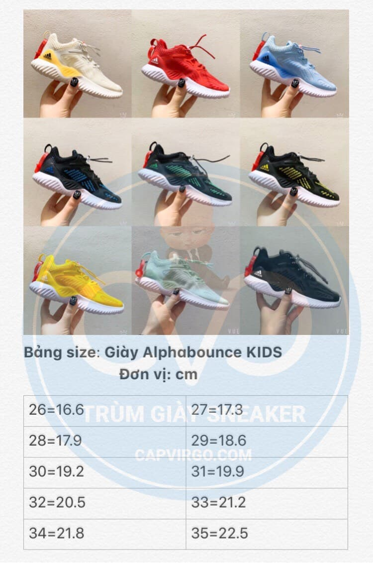 Bảng size giày Adidas AlphaBounce trẻ em