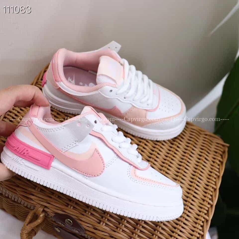 Giày trẻ em nike Air Force 1 Shadow trắng swoosh hồng