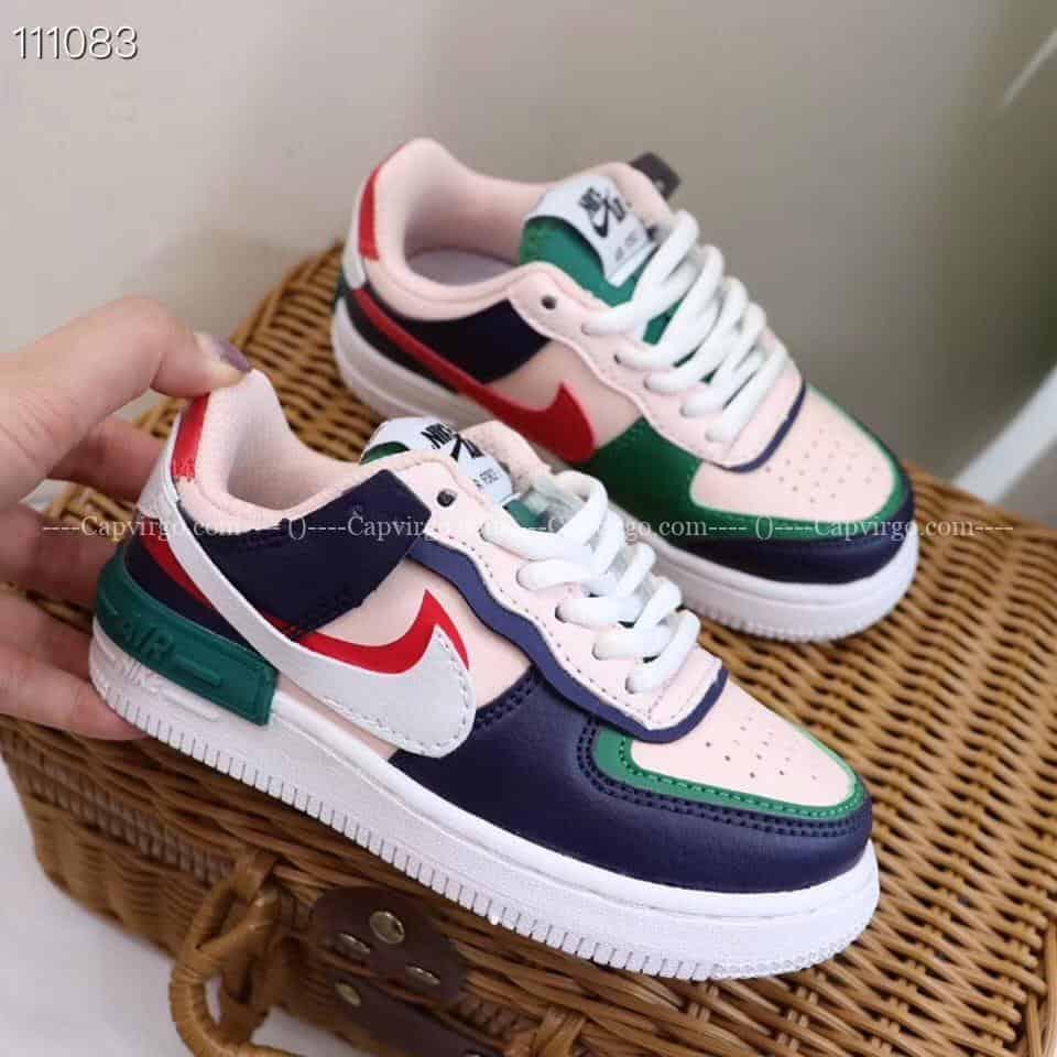 Giay Trẻ Em Nike Air Force 1 Shadow Xanh Hồng L Capvirgo Com Sneakerșii nike air force 1 shadow își datorează stilul unic construcției stratificate și culorilor vii. giay trẻ em nike air force 1 shadow xanh hồng