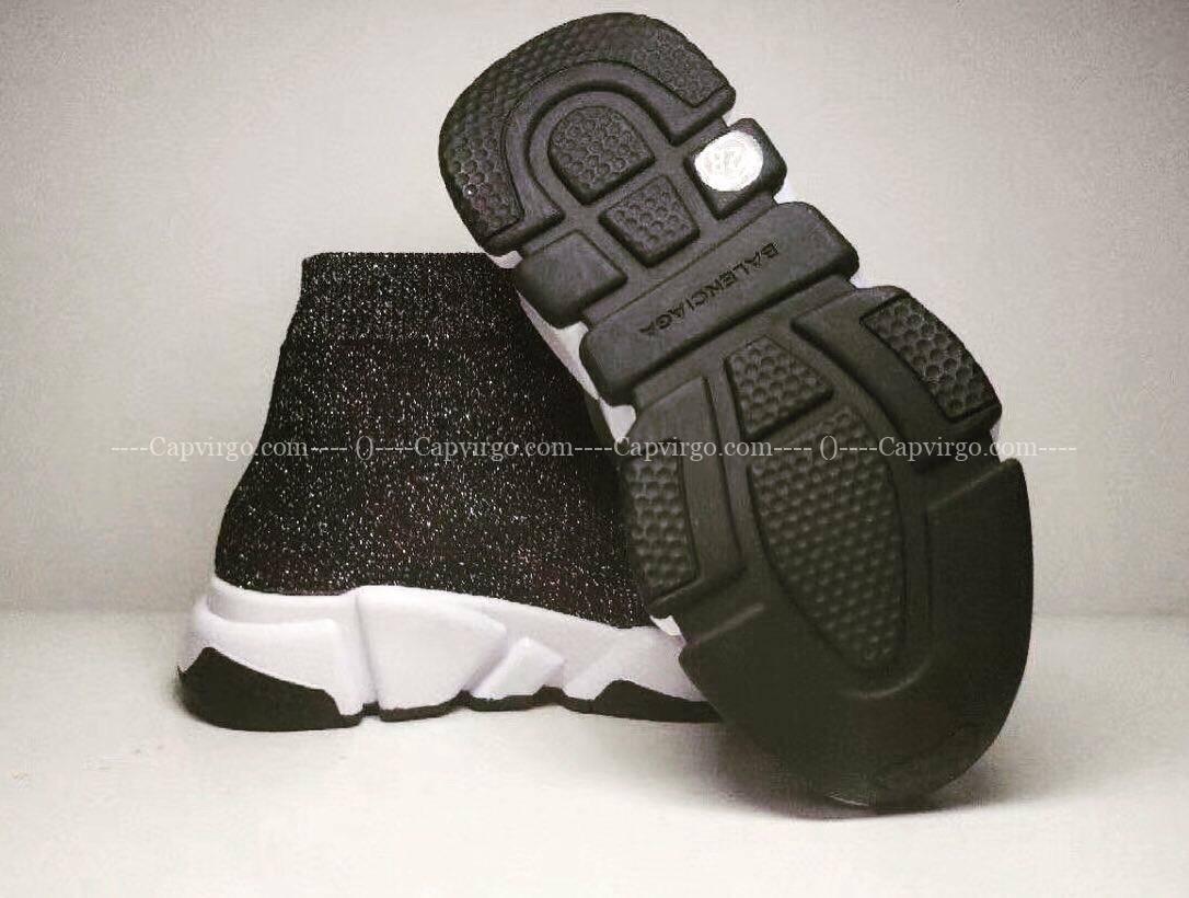 Giày balenciaga cao cổ màu đen kim tuyến