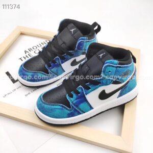 Giày air Jordan 1 trẻ em màu xanh dương mix đen