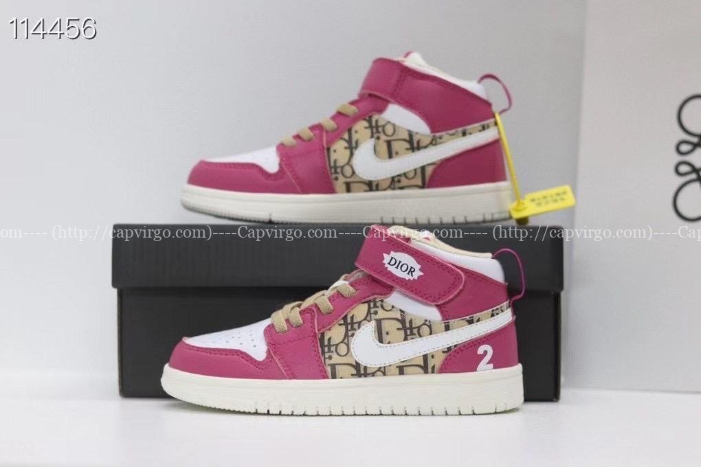Giày nike Jordan trẻ em DIOR màu hồng dán dính