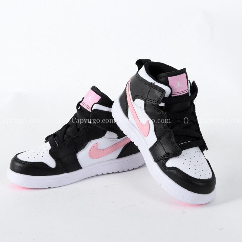Giày air Jordan 1 trẻ em dán dính màu đen logo hồng