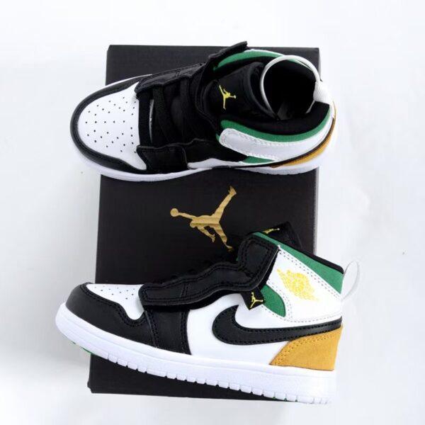Giày air Jordan 1 trẻ em dán dính màu đen xanh vàng