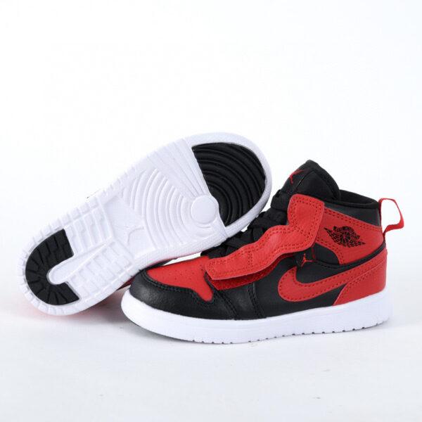 Giày air Jordan 1 trẻ em dán dính màu đỏ đen