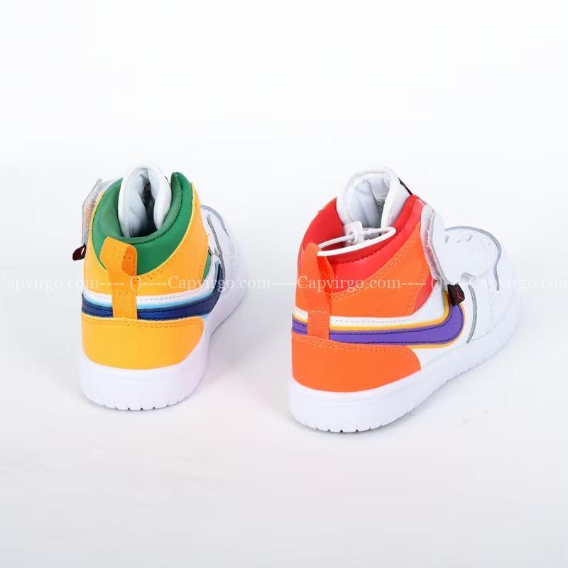 Giày air Jordan 1 trẻ em dán dính màu trắng vàng cam