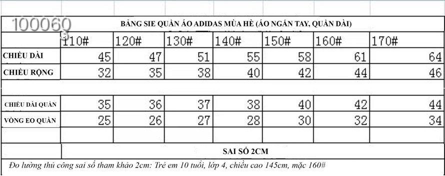 bảng size quần áo adidas trẻ em
