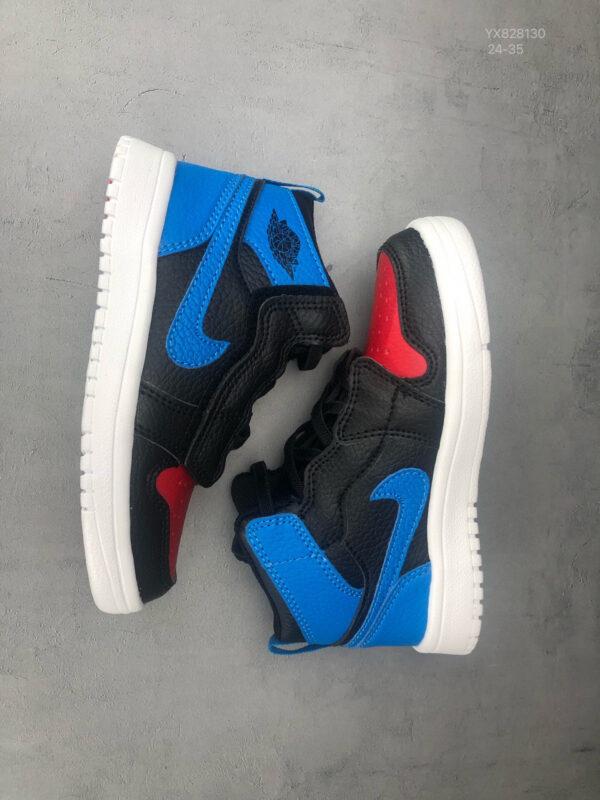 Giày air Jordan 1 trẻ em dán dính màu đen xanh cam