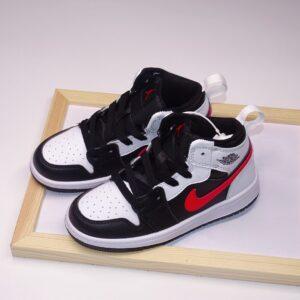 Giày air Jordan 1 trẻ em siêu cấp trắng đen logo đỏ