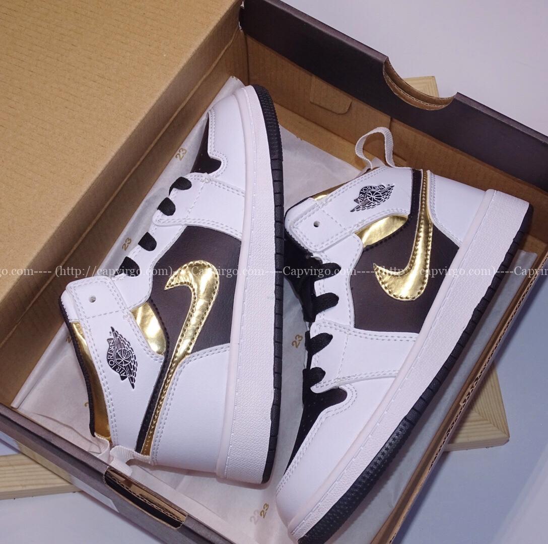Giày air Jordan 1 trẻ em siêu cấp trắng đen logo vàng