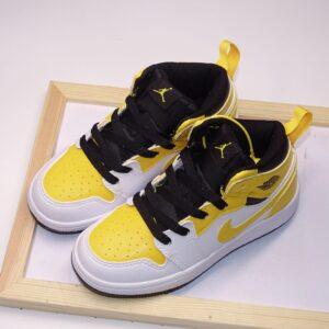 Giày air Jordan 1 trẻ em màu trắng vàng logo vàng