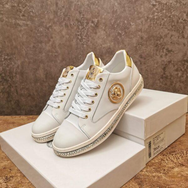 Giày nam Versace siêu cấp hoạt tiết đầu sư tử màu trắng