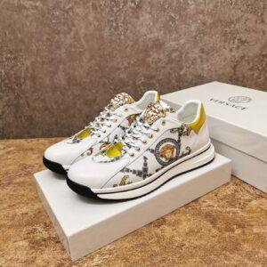 Giày Versace màu trắng họa tiết hoa văn