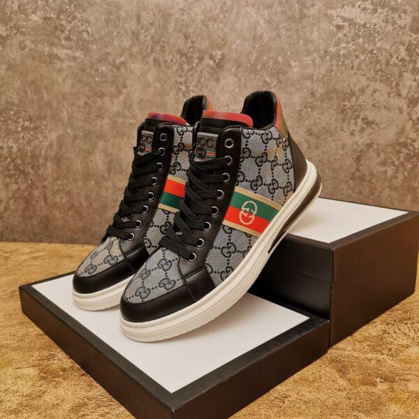 Giày gucci cao cổ cao cấp họa tiết gc màu đen ghi
