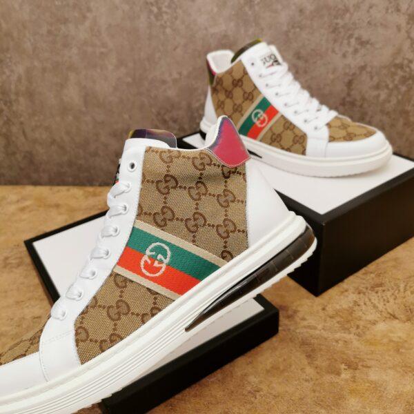 Giày gucci cao cổ cao cấp họa tiết gc màu trắng nâu
