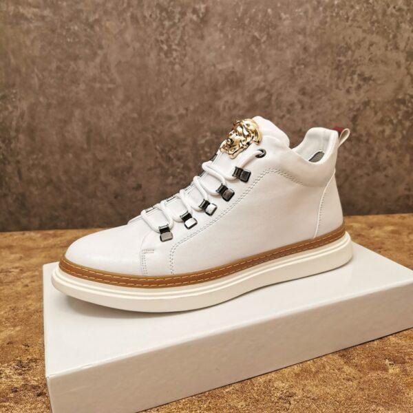 Giày Versace cao cổ màu trắng khóa logo Versace
