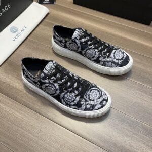 Giày Versace Original Single Vasachi đen họa tiết trắng